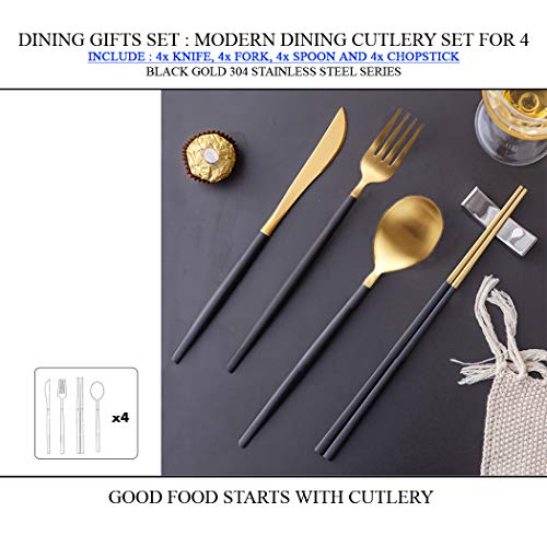 Dining Gifts Set : Modern Dining Cutlery Set for 4 Series Include 4x Knife, 4x Fork, 4X Spoon and 4X Chopstick (Black Gold) ()