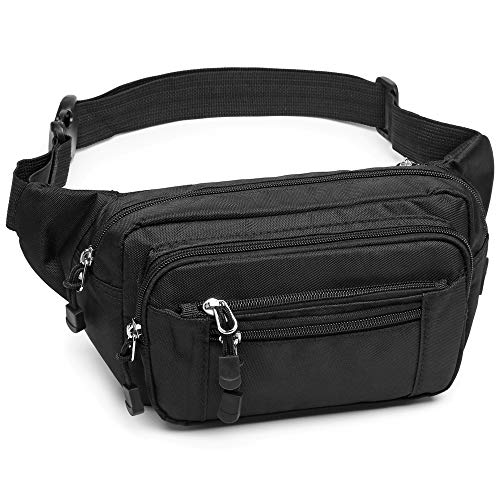 F-color Fanny Pack, Waterproof Cover Fanny Pack for Men Women with 5 Zipper Pockets Waist Pack Bag for Travel Hiking Running Hip Bum Bag, Black