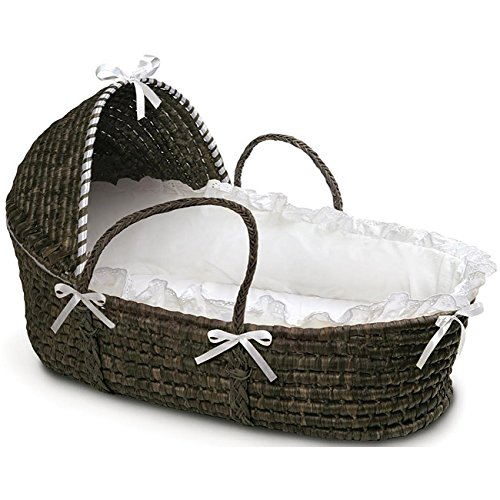 Moses Hooded Basket in White and Espresso Portable Baby Basket The Treasure Source