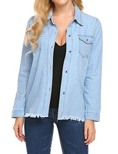 Denim Long Sleeve Blouse - Soteer Women's Long Sleeve Denim Shirt Button Down Blouse Tops Light Blue XL