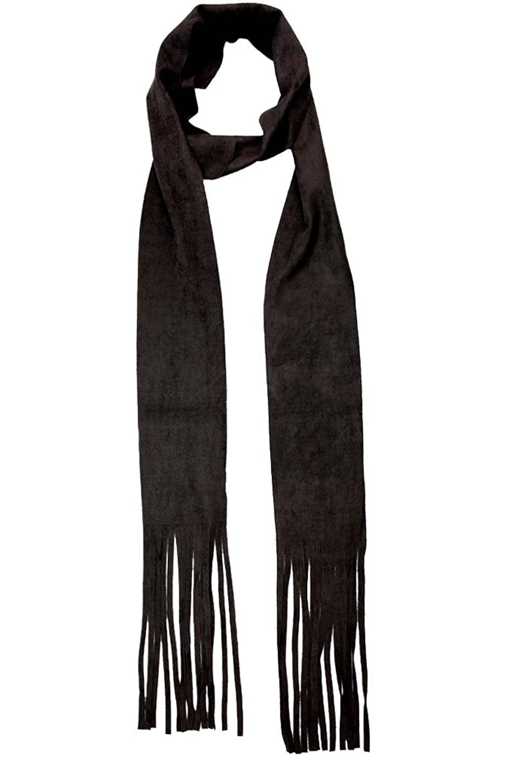 Luxury Divas Soft Faux Suede Skinny Scarf With Fringe