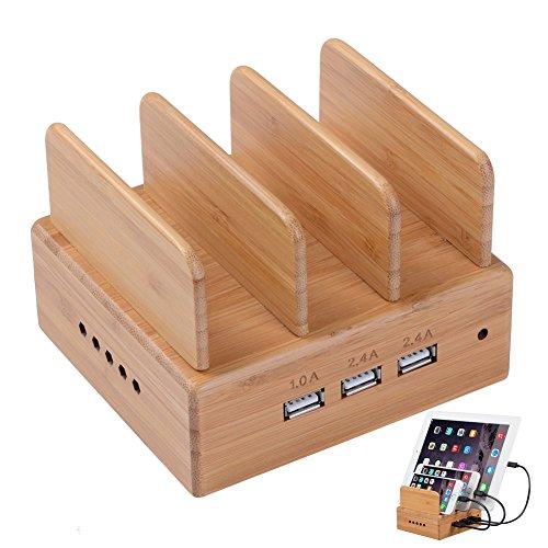 Bamboo Charging Station,USB Charging Station Dock OthoKing 3-Port Charging Stand Organizer Multiple Charger Station & Desktop Docking Station Compatible Smartphone,Tablets,Samsung Galaxy