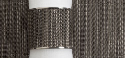 Chilewich Bamboo Stainless Steel Napkin Ring Grey Flannel Wide 1.5