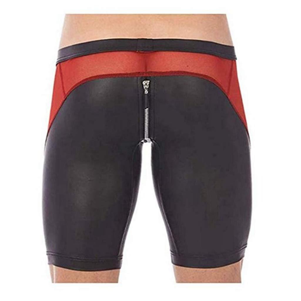 YiZYiF Men's Tights Leather Jammer Pants Bikini Mesh Splice Zipper Pouch Underwear Black XX-Large
