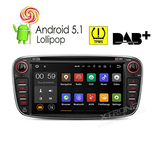 XTRONS Quad Core 7'' Android 5.1 Lollipop Car CD DVD GPS 2 DIN Stereo Radio Tire Pressure Monitoring for Ford FOCUS by XTRONS