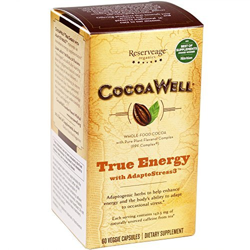 Reserveage Organics CocoaWell True Energy (Certified Organic,60 Vegetarian Capsules) by ReserveAge Nutrition by ReserveAge Nutrition