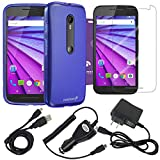 Fosmon Bundle for Motorola Moto G (3rd Gen, 2015): (DURA-FRO) Flexible Gel Case, Micro-USB Charger Combo Pack (Car Charger/Travel Charger/USB Cable), and 3-Pack Screen Protector [HD CLEAR] for Motorola Moto G (3rd Gen, 2015) (Blue)