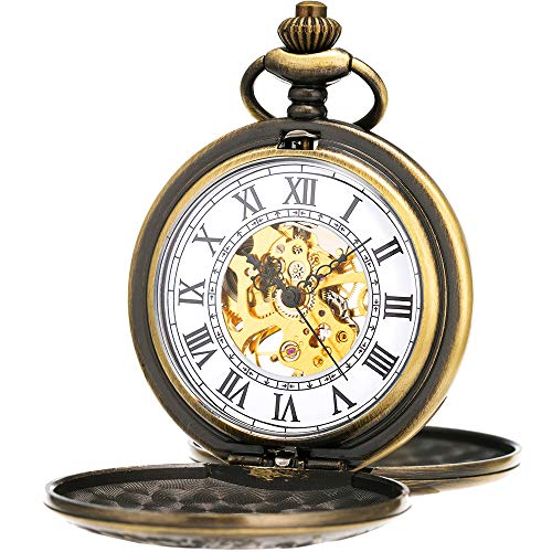 ManChDa Double Cover Roman Numerals Dial Skeleton Women Pocket Watches Gift for - Pocket Watch Up Chain Wind With