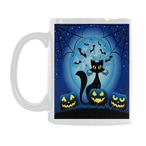 InterestPrint Halloween Pumpkin Black Cat and Bat Spider Web 11 Ounce Ceramic Travel Coffee Mug Tea Cup Set with Sayings - Funny Unique Birthday Halloween Gift for Men Women Mom Dad Friend Him Her