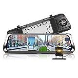 TOOGOO 10 Inch Full Screen 4G Press IPS Universal Bundled Car Dash Cam Rear View Reversing Mirror with GPS Navi Bluetooth WiFi Android 5.1 Dual Lens Fhd 1080P
