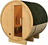 Finnish Finland Pine Wood 6' Foot Outdoor Barrel Sauna Spa, 4 Person, with 6KW Wet or Dry Heater and Lava Rocks
