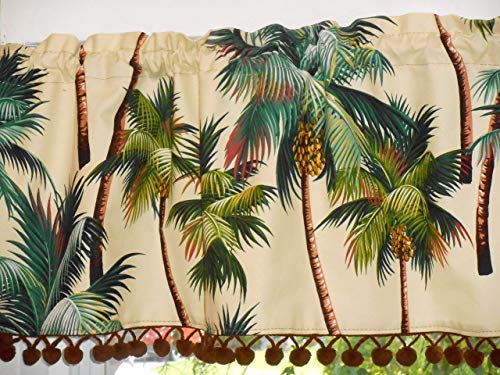 (Hawaiian Tropical Cotton Barkcloth Fabric VALANCE/Vintage Pom-Poms ~Palm Trees~)
