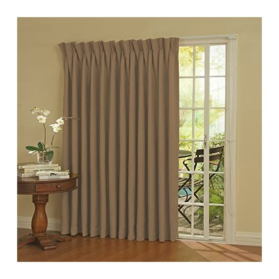 Eclipse Thermal Blackout Patio Door Curtain Panel, 100-Inch x 84-Inch, Wheat - The fashionable alternative to vertical blinds Energy efficient, blocks light, reduces noise Thermaweave woven technology - living-room-soft-furnishings, living-room, draperies-curtains-shades - 51c8aklELQL. SS570  -