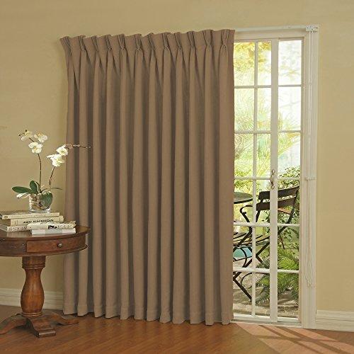 Pinch Pleated Drapery Panels (Eclipse Thermal Blackout Patio Door Curtain Panel, 100-Inch x 84-Inch, Wheat)