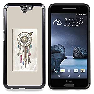 For HTC One A9 Case , Catcher Herencia Indígena Beige - Diseño Patrón Teléfono Caso Cubierta Case Bumper Duro Protección Case Cover Funda