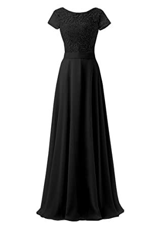 Lafee Bridal Lace Bridesmaid Dresses Chiffon Long Prom Dress with Short Sleeves Black Size 2