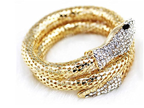 (P.Phoebus 18K Yellow Gold Plated Bangle Snake Bracelet Swarovski Crystal Rhinestone Charms Pendant for Women Girls)
