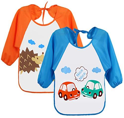Leyaron 2 Pack Unisex Infant Toddler Baby Waterproof Sleeved Bib, 6 Months-3 Years, Blue Car and Orange Monkey