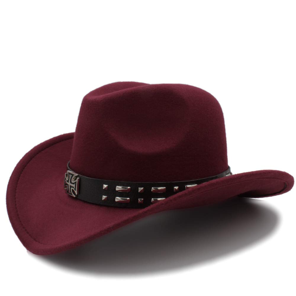 6aeee609df3 CSNMALL 2018 Winter Cowboy Hat for Men and Women Wool Eversion Wide-Brimmed  Outdoor Travel Felt Hat (Color   Wine red