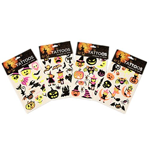 Temporary Tattoos Halloween Makeup for Boys and Girls Fluorescent Pumpkin Ghost and Bat Art Tattoos Creative Stickers (WSYG01/ WSYG02/WSYG03/WSYG04)