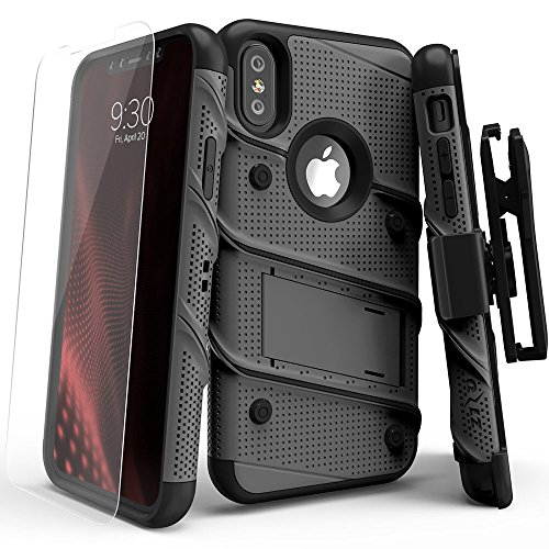iPhone X Case – Zizo [Bolt Series] with FREE [iPhone X Screen Protector] Kickstand [12 ft. Military Grade Drop Tested] Holster Belt Clip Gun Metal Gray