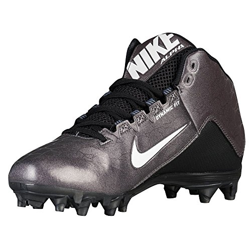 Nike Mens Alpha Strike 2 Three-Quarter Football Cleat Black/Dark Grey/White Size 10 M US (Mens Football Cleat)