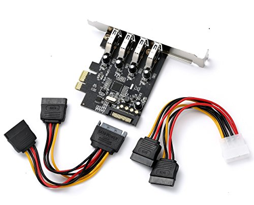 4 Port PCI Express PCIe SuperSpeed USB 3.0 Controller Card Adapter(NEC720201) with 15pin SATA Power Connector - Low Profile and Power Cables - Low Profile Connectors