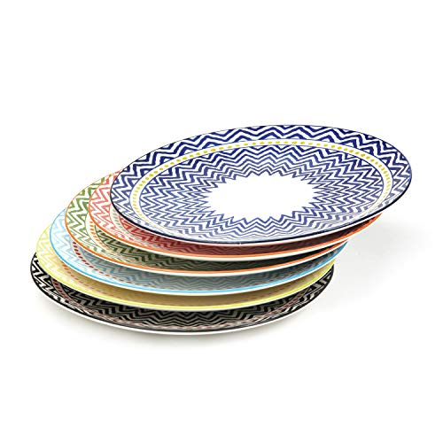 (Bloom Flower 10.3 Inch Porcelain Plates Set for Dinner Pasta, Salad - 6 Pack Assorted Colors, FDA Approved)