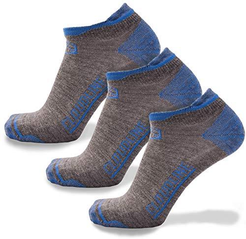 CloudLine Merino Wool Ultra-Light Athletic Tab Ankle Running Socks - 3 Pack - Medium Glacial Blue - for Men & Women