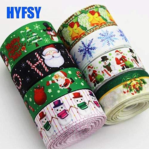 Shoppy Star hyfsy 10008 22 25mm Green Christmas Ribbon 10 Yards Snowman DIY Hair Bow Costume Gift Package Grosgrain Ribbon Father: Mix ()
