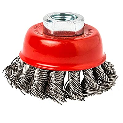 HOYIN 2-1/2Inch Wire Cup Brush, 0.020In Stainless Steel,Twist Knotted,5/8inch-11UNC for Angle Grinders