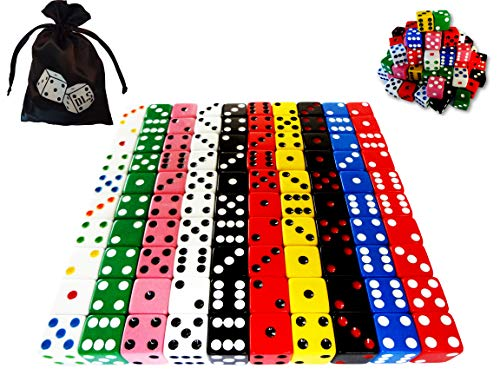 Discount Learning Supplies 100-Piece 16 mm Assorted Colored Dice with Storage Bag