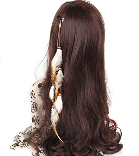 Suoirblss Handmade Boho Hippie Hair Extensions With Feather Clip Comb Hairpin Headdress DIY Accessories for Girls Women Lady