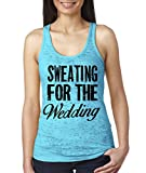 Superior Apparel Sweating For The Wedding Marriage Women's Fitness Burnout Tank Top By XX-Large Tahiti Blue