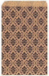 My Craft Supplies 100 Kraft Flat Merchandise Bags with Black Damask Print (6x9)
