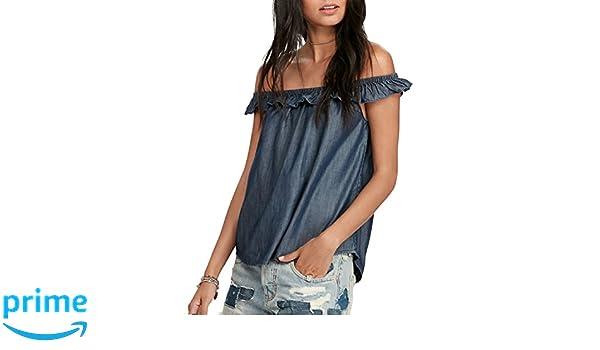 7fb068eb Denim & Supply Ralph Lauren Women's Off-The-Shoulder Denim Shirt Rinse Wash  XL at Amazon Women's Clothing store: