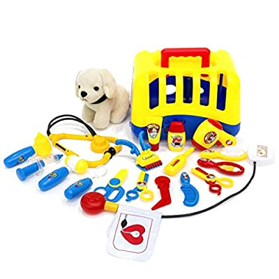 Best Choice Products 20-Piece Kids Dog Vet Groomer Medical Kit Toy Set w/ Puppy Plush, Carrier and Handle, Tools - Multi: Toys & Games