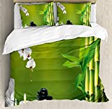 Spa Decor Queen Size Duvet Cover Set by Ambesonne, Bamboo Flower Stone Wax on the Table Orchid Rock Healthy Lifestyle, Decorative 3 Piece Bedding Set with 2 Pillow Shams