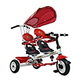 Toy, Play, Game, 4 In 1 Twins Kids Trike Baby Toddler Tricycle Safety Double Rotate Seat w/ Basket, Kids, Children