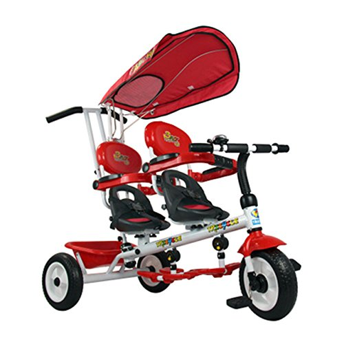 Toy, Play, Game, 4 In 1 Twins Kids Trike Baby Toddler Tricycle Safety Double Rotate Seat w/ Basket, Kids, Children by Game Toys #11