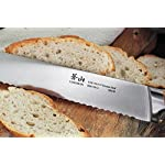 Cangshan H1 Series 59175 Wood Handle German Steel Forged Bread Knife, 10.25-Inch 13 Unique Patent Pending Design that focuses on solid Teak wood ergonomics handle Well balanced 5-inch handle and 10.25-inch blade X50Cr15MoV German Steel with HRC 58 +/- 2 on the Rockwell Hardness Scale