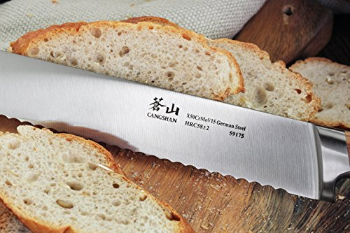 Cangshan H1 Series 59175 Wood Handle German Steel Forged Bread Knife, 10.25-Inch 4 Unique Patent Pending Design that focuses on solid Teak wood ergonomics handle Well balanced 5-inch handle and 10.25-inch blade X50Cr15MoV German Steel with HRC 58 +/- 2 on the Rockwell Hardness Scale