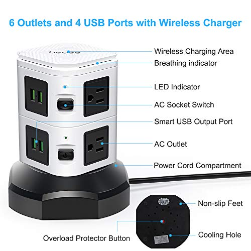 Bedee Power Strip Tower with Fast Wireless Charger, 6 AC Outlets 4 USB Ports Surge Protector Vertical Electric Charging Station, 3000W 13A 16AWG 6.5ft Heavy Duty Retractable Cord for Office Home Shop