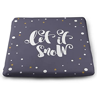 Tinmun Square Cushion, Let It Snow Inspirational Winter Large Pouf Floor Pillow Cushion for Home Decor Garden Party: Home & Kitchen