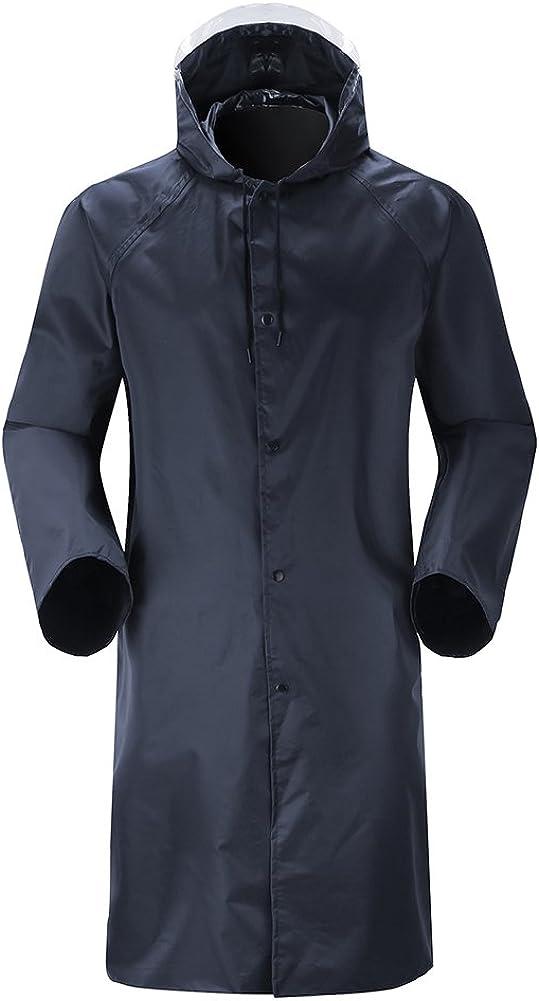 Insun Unisex Hombres y Mujeres Chubasquero Impermeable Abrigo Poncho Protección Resistente a Lluvia Chaqueta con Capucha con Tiras Reflectantes