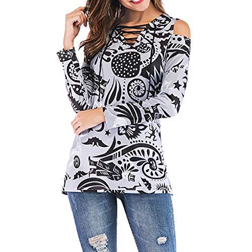 Summer lunga maniche Grigio 2019 lunghe donna e T New Shirt Fashion stampa da con V ampia shirt Sexy scollo T con Slyar a Top XRZgq