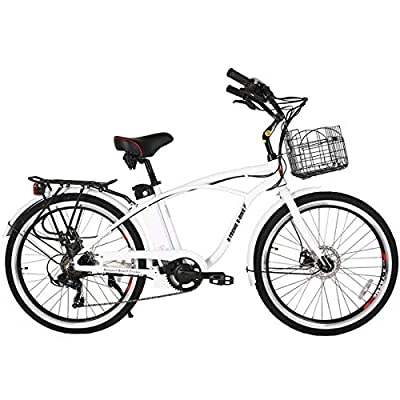 X-Treme E-Bike Newport Elite Electric Beach Cruiser Bicycle - Metallic White