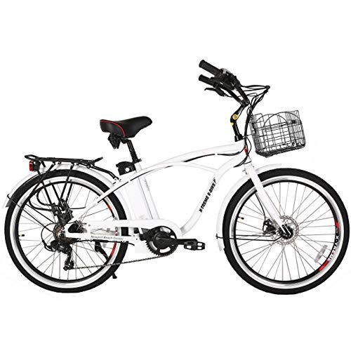 X-Treme E-Bike Newport Elite Electric Beach Cruiser Bicycle - Metallic White