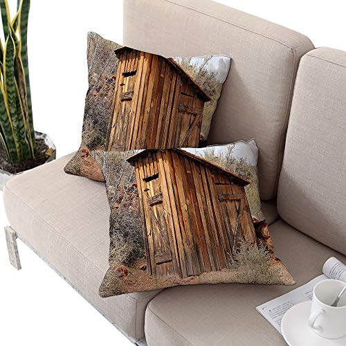 (Outhouse Square Body Pillowcase,Old Wooden Shed in The Outback Country Side with Olive Trees Caramel Brown and Dark Green W14 xL14 2pcs Cushion Cases Pillowcases for Sofa Bedroom Car)