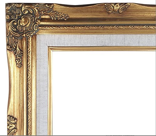 Ornate Baroque Gold Painted Wooden Frame with Cream Linen Liner Shabby Chic Picture Frame (24x36 w/ glass+back)